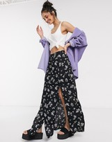 Miss Selfridge floral split maxi skirt in black