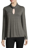 Haute Hippie Long-Sleeve Turtleneck Keyhole Top, Heather Gray