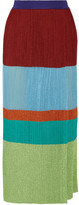 Missoni Wrap-effect Pleated Metallic Stretch-knit Maxi Skirt - Sky blue