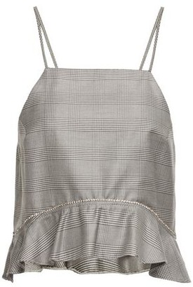 Ganni Ruffled Prince Of Wales Checked Silk And Wool-blend Camisole