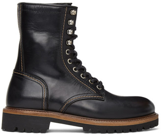 Belstaff Black Lace-Up Ankle Boots
