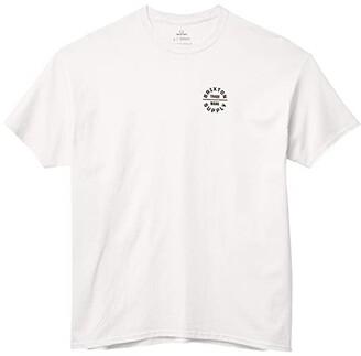 Brixton Oath V Short Sleeve Standard Fit T-Shirt (White/Amber) Men's Clothing