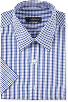 Club Room Men's Classic/Regular Fit China Blue Gingham Short Sleeve Dress Shirt, Only at Macy's