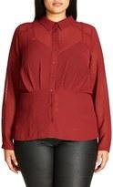 City Chic Plus Size Women's Snakeskin Textured Chiffon Shirt