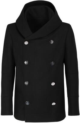Balmain Hooded Wool Blend Pea Coat