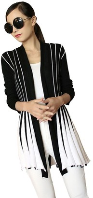 Eleery Women's Cardigan Fashion Bright Colour Contrast Long Sleeve Striped Flare Swing Knitted Coat Ladies Open Front Casual Sweater (One Size