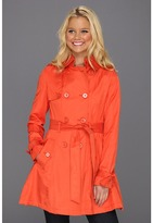 Betsey Johnson Corset Back Double Breasted Trench (Orange Explosion) - Apparel