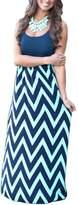 Mooncolour Women Boho Sleeveless Wave Striped Maxi Dress (U20/Asian 2XL, Navy)