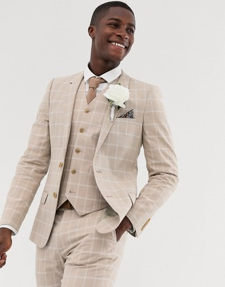 Asos DESIGN wedding skinny suit jacket in camel linen windowpane check