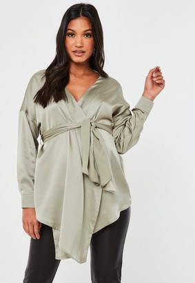 Missguided Plunge Tie Wrap Around Maternity Blouse