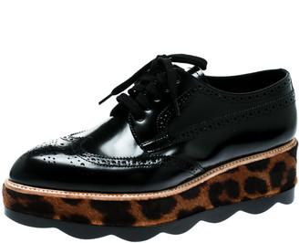 Prada Black Brogue Leather And Leopard Print Calf Hair Platform Derby Size 41