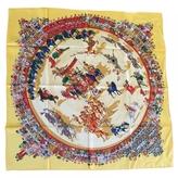Hermes silk scarf Cirque Molier yellow Philippe Dumas