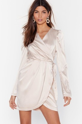 Nasty Gal Womens Tie the Hell Not Satin Wrap Dress - Champagne