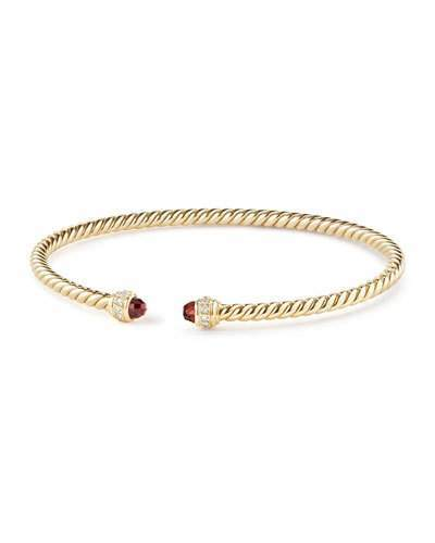 David Yurman 18k Gold CableSpira® Bracelet w/ Garnet, Size M