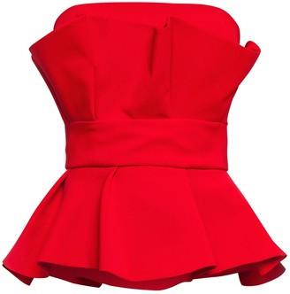 Cliché Reborn Fold Detail Pep Hem Bandeau Top In Bright Red