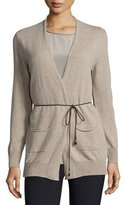 Peserico Long Open Cardigan w/ Hip Patch Pockets, Beige