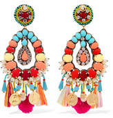 Ranjana Khan Frida Gold-tone, Mother-of-pearl, Raffia And Crystal Clip Earrings - Red