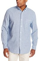 Margaritaville Men's Long Sleeve Linen Yarn Dyed Gingham Check Shirt