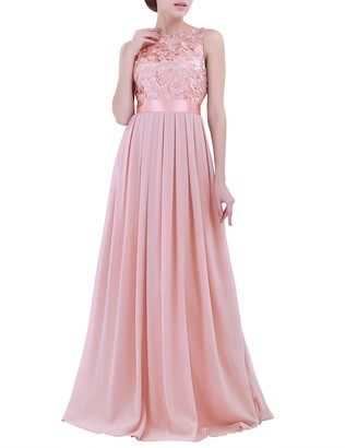 TiaoBug Women Ladies Empire Waist Embroidered Chiffon Wedding Bridesmaid Dress Long Evening Prom Gown Pearl Pink 6