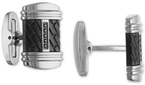 Esquire Men's Jewelry Diamond Cuff Links (1/20 ct. t.w.) in Stainless Steel & Black Ion-Plate, Created for Macy's