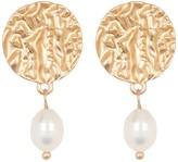 Area Stars Molten Stud & 10mm Pearl Dangle Earrings