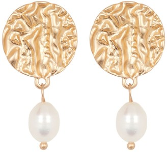 Area Stars 14K Yellow Gold Plated Molten Stud & 10mm Freshwater Pearl Dangle Earrings