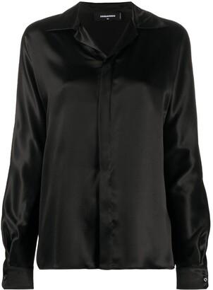 DSQUARED2 Open Collar Silk Shirt