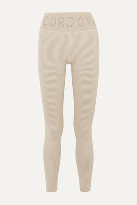 Cordova Signature Ribbed Stretch-knit Leggings - Beige