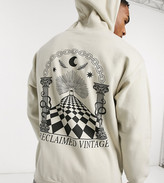 Reclaimed Vintage inspired oversized hoodie with back print in stone