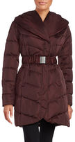 Tahari Mid Length Shawl Collar Belted Puffer Coat