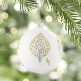 Crate & Barrel Glitter Pear Tree White Ball Ornament