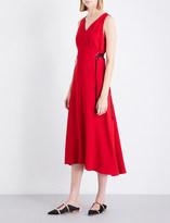 Tome Lace-up crepe midi dress