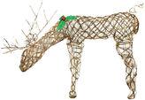 Asstd National Brand 34 Pre-Lit Glittered Feeding Deer Yard Art
