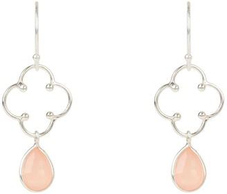 Latelita Clover Gemstone Drop Earring Silver Rose Quartz