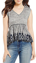 Chelsea & Violet Embroidered Peplum Top