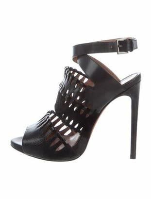 Alaia Leather Cutout Accent Sandals Black