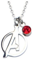 """Marvel Women's Avengers """"A"""" Logo Cutout Stainless Steel Pendant Necklace with Red CZ (18"""")"""