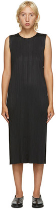 Pleats Please Issey Miyake Black Sleeveless Mid-Length Dress