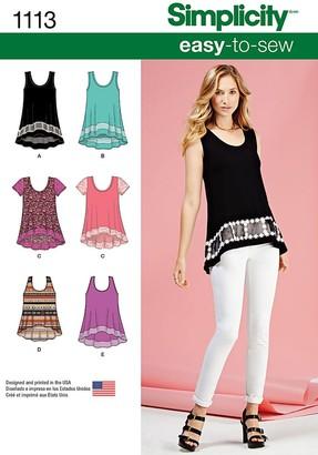 Simplicity Women's Sleeveless Asymmetric Hem Top Sewing Pattern, 1113