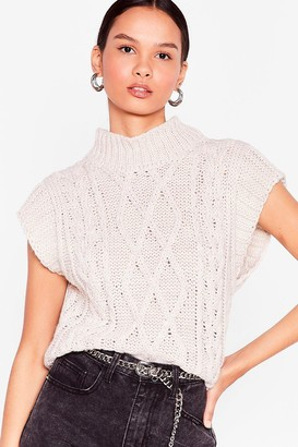 Nasty Gal Womens Hot On Their Tracks Cable Knit vest Top - Beige - S/M