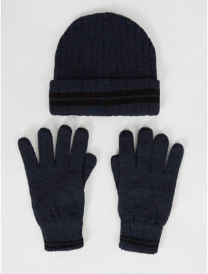 George Thinsulate Navy Marl Fleece Lined Beanie Hat and Gloves Set