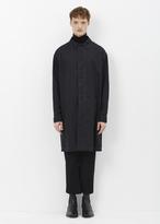 Lanvin black dropped shoulder tech wool raincoat