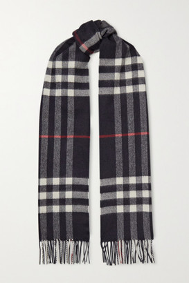 Burberry Fringed Checked Cashmere Scarf - Navy