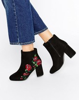 Asos RULE Embroidered Ankle Boots
