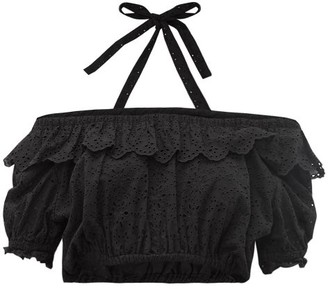 Sir - Amelie Cropped Broderie Anglaise Top - Womens - Black