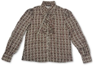 INC International Concepts Inc Petite Printed Ruffled Bow Blouse, Created for Macy's