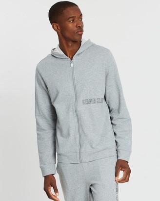 Calvin Klein Men's Grey Hoodies - Logo Full-Zip Hoodie - Size M at The Iconic
