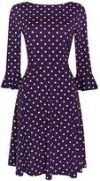 Wallis Purple Spot Flute Sleeve Dress