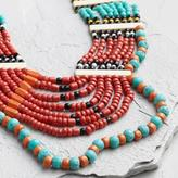 World Market Turquoise and Red Beaded Multi Strand Necklace