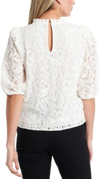1 STATE Puff-Sleeve Lace Top